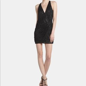 NWOT Parker Black Beaded Chiffon Wrap Dress $462